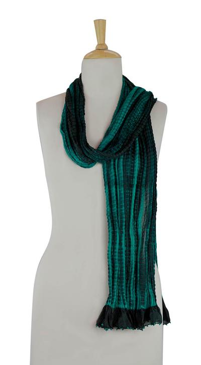 Beaded crinkle silk scarf, 'Emeralds' - Beaded crinkle silk scarf