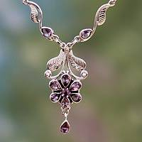 Amethyst flower necklace, 'Blossoming Love' - Amethyst flower necklace