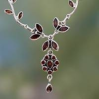 Garnet flower necklace, 'Love's Legacy' - Handcrafted Garnet and Sterling Silver Floral Necklace