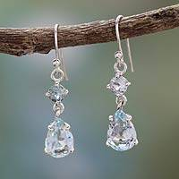 Blue topaz dangle earrings, 'Azure Fantasy'