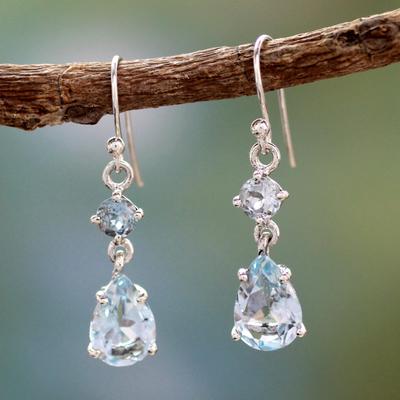 Blue topaz dangle earrings, 'Azure Fantasy' - Blue topaz dangle earrings