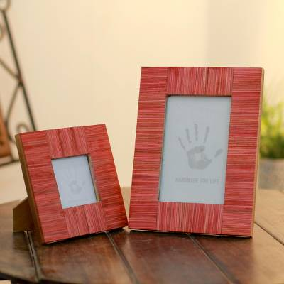 Indian elm wood photo frames, 'Romantic Delhi' (4x6 and 3x3) - Wood photo frames (4x6 and 3x3)
