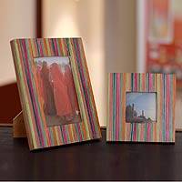 Indian elm wood photo frames, 'Festive Delhi' (4x6 and 3x3) - Wood photo frames (4x6 and 3x3)