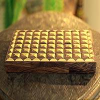 Indian elm wood box, 'Delhi Enigma' - Wood box