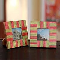 Indian elm wood photo frames, 'Dream of Delhi' (pair, 3x3) - Wood photo frames (Pair, 3x3)