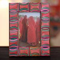 Indian elm wood photo frame, 'Agra Abstract' (4x6) - Geometric Wood Multicolor and Red Photo Frame (4x6)