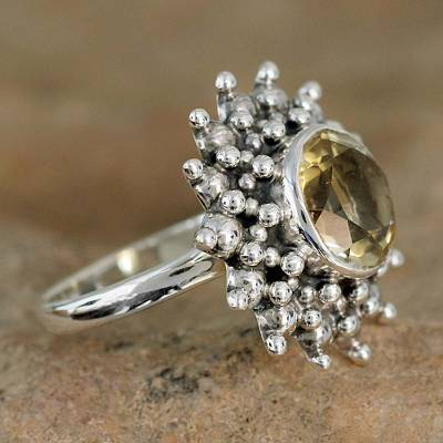 Citrine cocktail ring, 'Star' - Citrine Jewelry Artisan Crafted Sterling Silver Jewelry