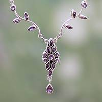 Amethyst flower necklace, 'Mystic Legacy' - Sterling Silver and Amethyst Floral Necklace