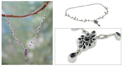 Amethyst flower necklace, 'Mystic Legacy' - Amethyst flower necklace