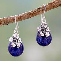 Lapis lazuli dangle earrings, 'Lovely Lily' - Unique Lapis Lazuli Raindrop Earing with Sterling Flower