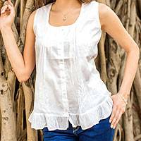 Cotton blouse, 'Morning Cloud' - White Cotton Embroidered Blouse with Pintucks