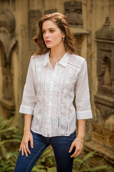 Cotton blouse, 'Morning Glory' - Chikankari White Cotton Embroidered Blouse with 3/4 Sleeves