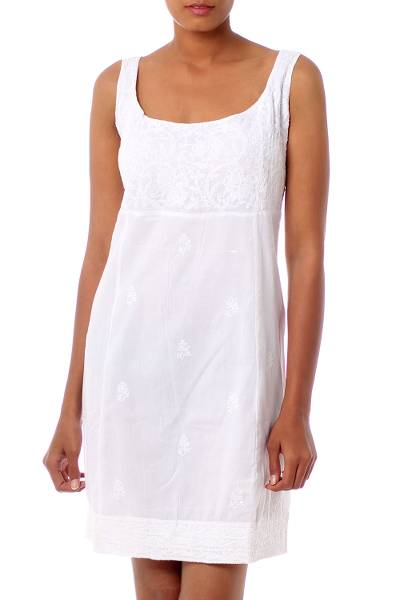 Hand Embroidered White Cotton Sheath