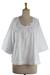 Cotton blouse, 'Floral Mist' - Embroidered White Cotton Smock (image 2c) thumbail