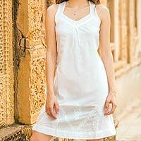 Cotton sundress, 'Lucknow Lady' - Sleeveless Embroidered White Cotton Sundress
