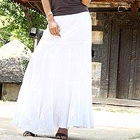 Cotton skirt, 'Lucknow Princess' - Hand Embroidered Long White Cotton Peasant Skirt