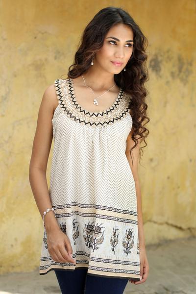 Beaded sleeveless cotton top, 'Golden Magic' - Sleeveless Cotton Block Print Top with Beadwork and Sequins