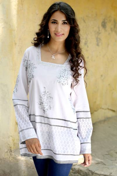 Cotton tunic, 'Silver Glam' - White Cotton Tunic with Silver Block Print and Sequins