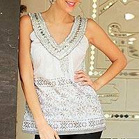 Cotton blouse, 'Silver Sparkle'