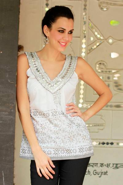 Cotton blouse, 'Silver Sparkle' - India Block Print Sleeveless White Cotton Top with Sequins