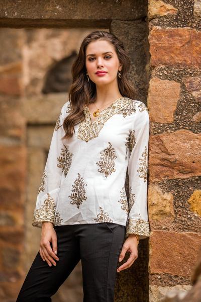 Beaded cotton tunic, 'Festive Floral Paisley' - Festive Cotton Block Print Tunic Beadwork Sequins Zari