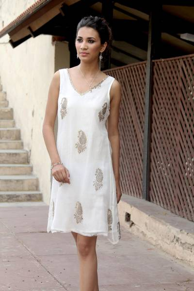 Embellished dress, 'Golden Panorama' - White Viscose Embellished Sheer Dress with Lining