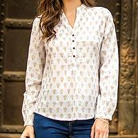 Cotton tunic, 'Golden Lotus' - Women's White Cotton Tunic Golden Block Prints