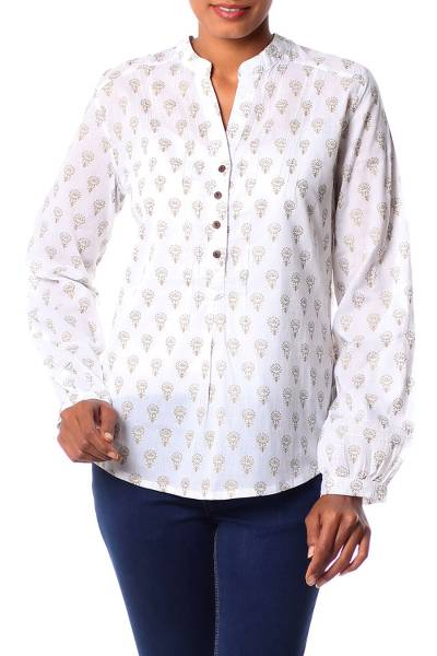 Cotton tunic, 'Golden Lotus' - Women's White Cotton Tunic Golden Block Prints