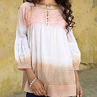 Embellished cotton blouse, 'Subtle Allure' - India Beaded Cotton Eyelet Lace Blouse