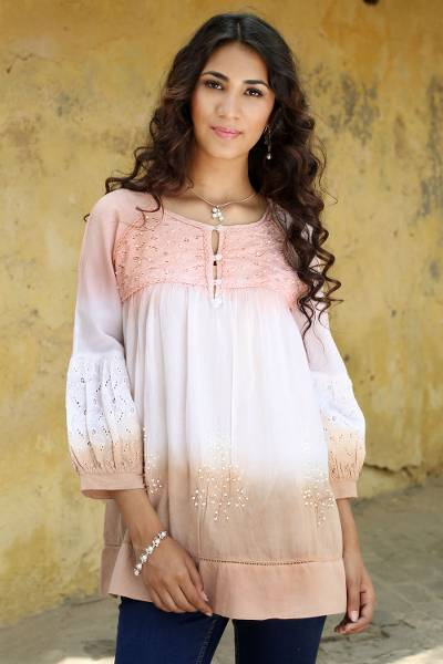 Embellished cotton blouse, 'Subtle Allure' - Hand Crafted 100% Cotton Blouse with Embellished Eyelet Lace