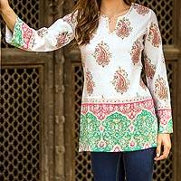 Beaded cotton tunic, 'Beautiful Jaipur'