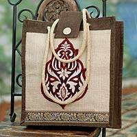 Jute tote bag, 'Fire Blossom' - Floral Jute Embroidered Shoulder Bag