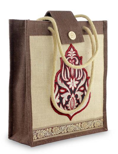 Jute tote bag, 'Fire Blossom' - Floral Jute Embroidered Shoulder Bag