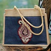 Jute tote bag, 'Indian Paisley' - Artisan Crafted Paisley Jute Shoulder Bag