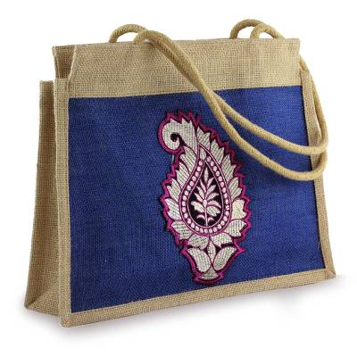 Artisan Crafted Paisley Jute Shoulder Bag