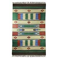 Cotton rug, 'Pine Forest' (4x6) - Cotton rug (4x6)