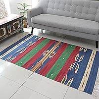 Cotton area rug, 'Sky Fantasy' (4x6) - (4x6) Geometric Cotton Area Rug