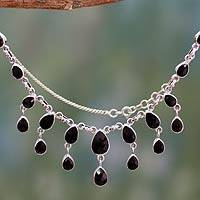 Onyx waterfall necklace, 'Midnight Cascade' - Sterling Silver and Onyx Handmade Waterfall Necklace