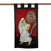 Cotton batik wall hanging, 'Carrying Water' - Cotton batik wall hanging