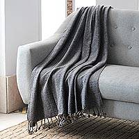 Throw, 'Grey Dove' - Handmade Solid Throw Blanket