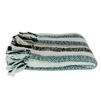 Throw, 'Teal Kiss' - Indian Striped Throw Blanket