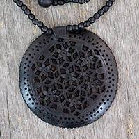 Ebony wood necklace, 'Mughal Enchantress Medallion' - Jali jewellery Ebony Wood Beaded Necklace
