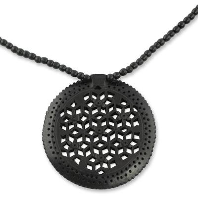Ebony wood necklace, 'Mughal Enchantress Medallion' - Jali Jewelry Ebony Wood Beaded Necklace