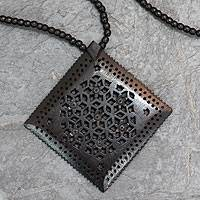 Ebony flower necklace, 'Mughal Enchantress Diamond' - Ebony Wood Necklace Hand Carved jewellery from India