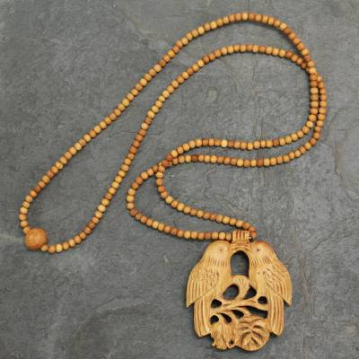 Wood pendant necklace, Courtship