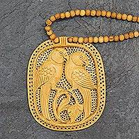 Wood pendant necklace, 'Parrot Romance'