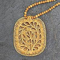 Wood flower necklace, 'Elephant Shadow'