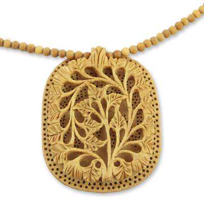 Wood flower necklace, 'Elephant Shadow' - Hand Made Indian Floral Wood Pendant Necklace