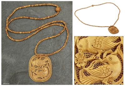 Wood pendant necklace, 'Playful Birds' - Handcrafted Wood Jali Necklace