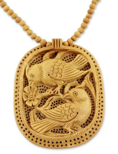 Handcrafted Wood Jali Necklace